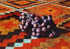 Grapes On Rug, Limited Edition Lithograph, Lowell Nesbitt