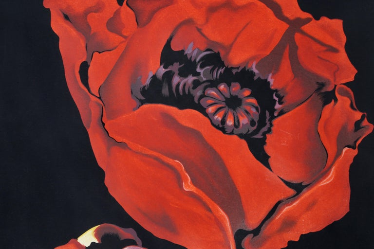 Red Poppies, Photorealist Flower Serigraph by Lowell Nesbitt  For Sale 2