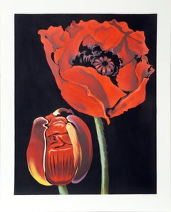 Red Poppies, Photorealist Flower Serigraph by Lowell Nesbitt