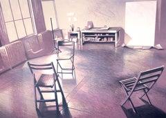 Soho Loft Studio: drawing of 1970s New York artist's studio in purple, yellow