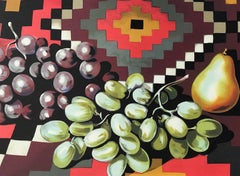 Still Life With Grapes and Pear, Hand Drawn Signed Lithograph, Aztec pattern