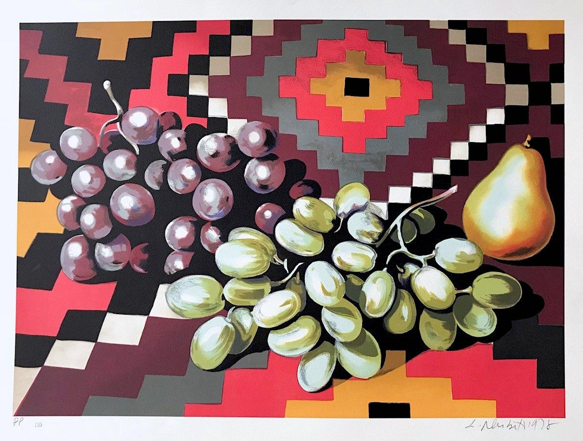 STILL LIFE WITH GRAPES AND PEAR Signed Lithograph, Fruit Southwest Pattern Aztec