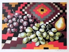 Still Life With Grapes and Pear, Signed Lithograph, Aztec Textile, Fruit