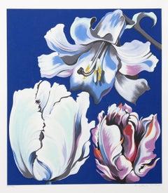 Three Flowers on Blue