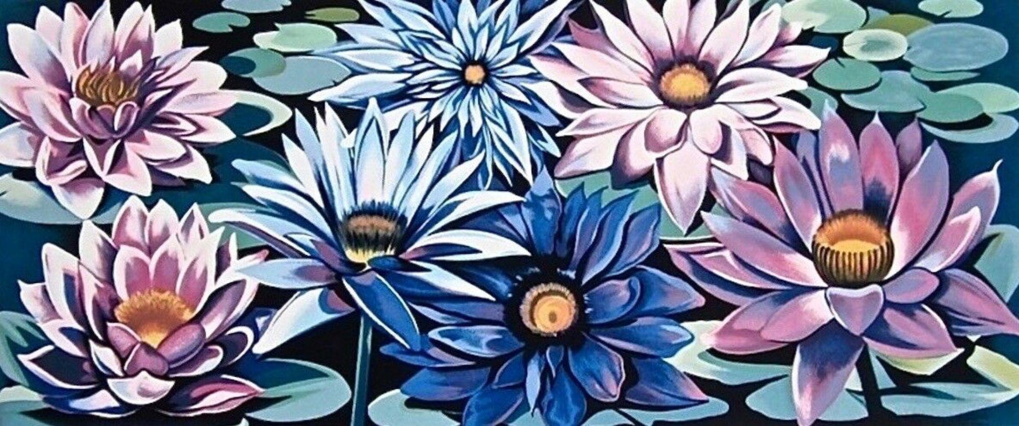 Waterlilies, Limited Edition Silkscreen, Lowell Nesbitt - LARGE