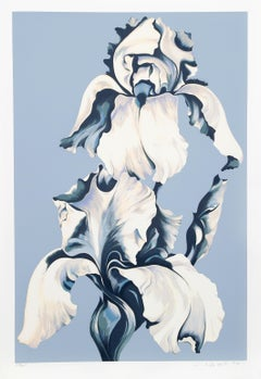White Irises on Blue, Silkscreen by Lowell Nesbitt