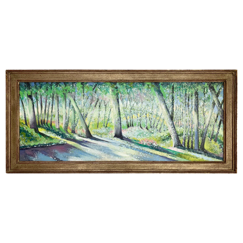 Lowell Nesbitt Signed Original Oil Painting Forest Lights, New York, 1984