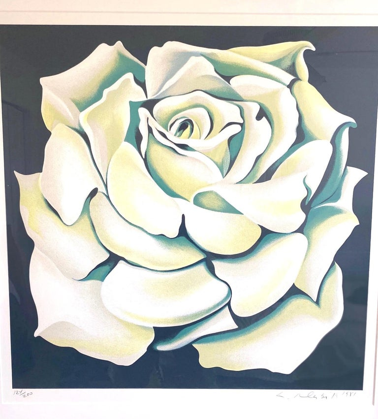 Lowell Nesbitt White Rose Limited Edition Lithograph in Custom Frame, circa 1981 For Sale 4
