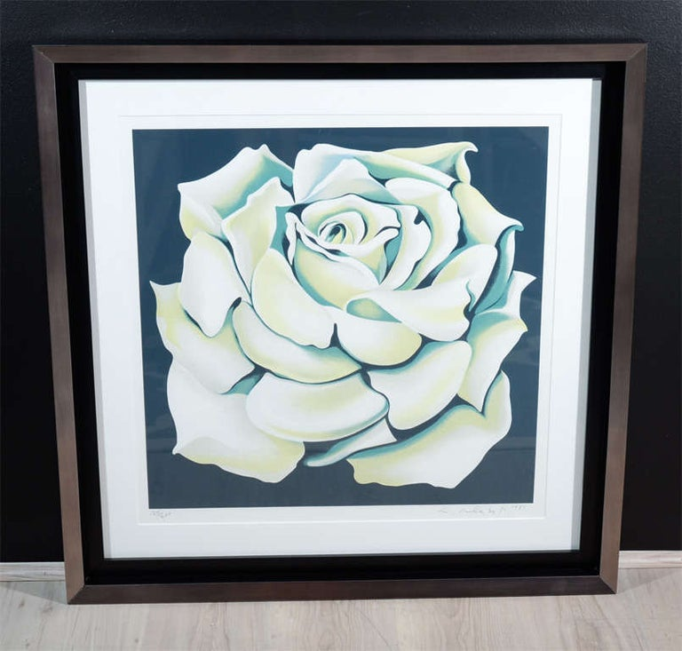 Lowell Nesbitt White Rose Limited Edition Lithograph in Custom Frame, circa 1981 For Sale 5