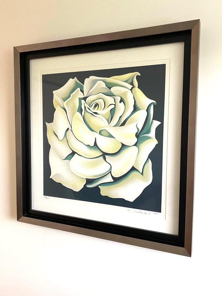 Post-Modern Lowell Nesbitt White Rose Limited Edition Lithograph in Custom Frame, circa 1981 For Sale