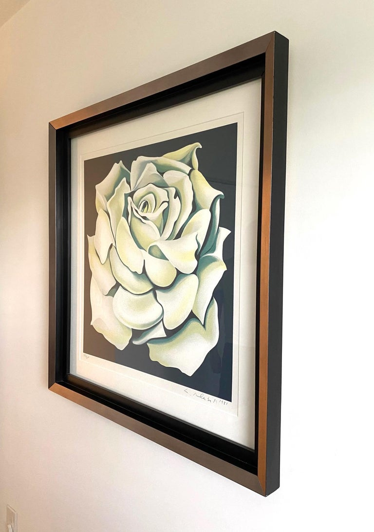 American Lowell Nesbitt White Rose Limited Edition Lithograph in Custom Frame, circa 1981 For Sale