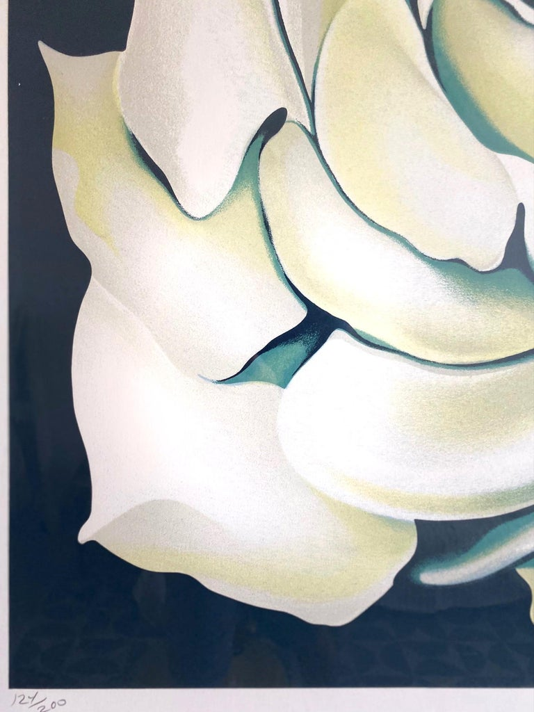 Late 20th Century Lowell Nesbitt White Rose Limited Edition Lithograph in Custom Frame, circa 1981 For Sale