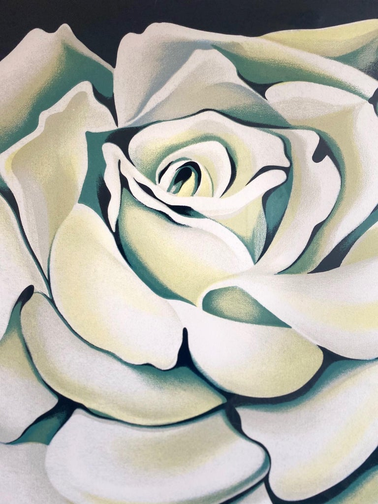 Paint Lowell Nesbitt White Rose Limited Edition Lithograph in Custom Frame, circa 1981 For Sale