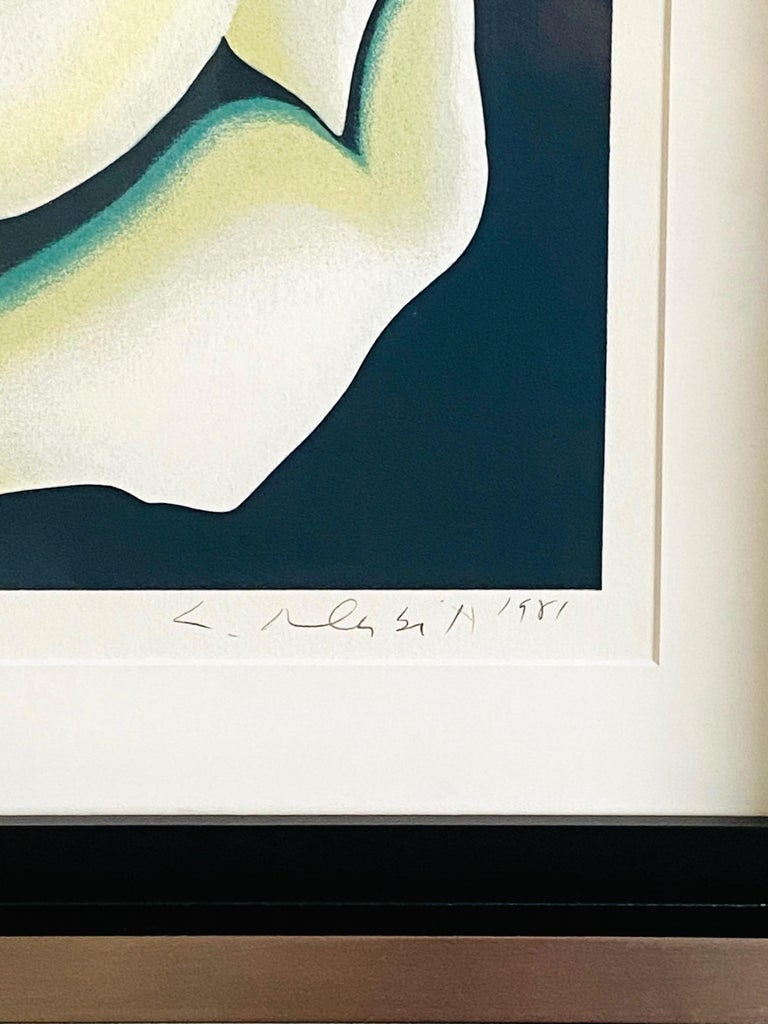 Lowell Nesbitt White Rose Limited Edition Lithograph in Custom Frame, circa 1981 For Sale 2