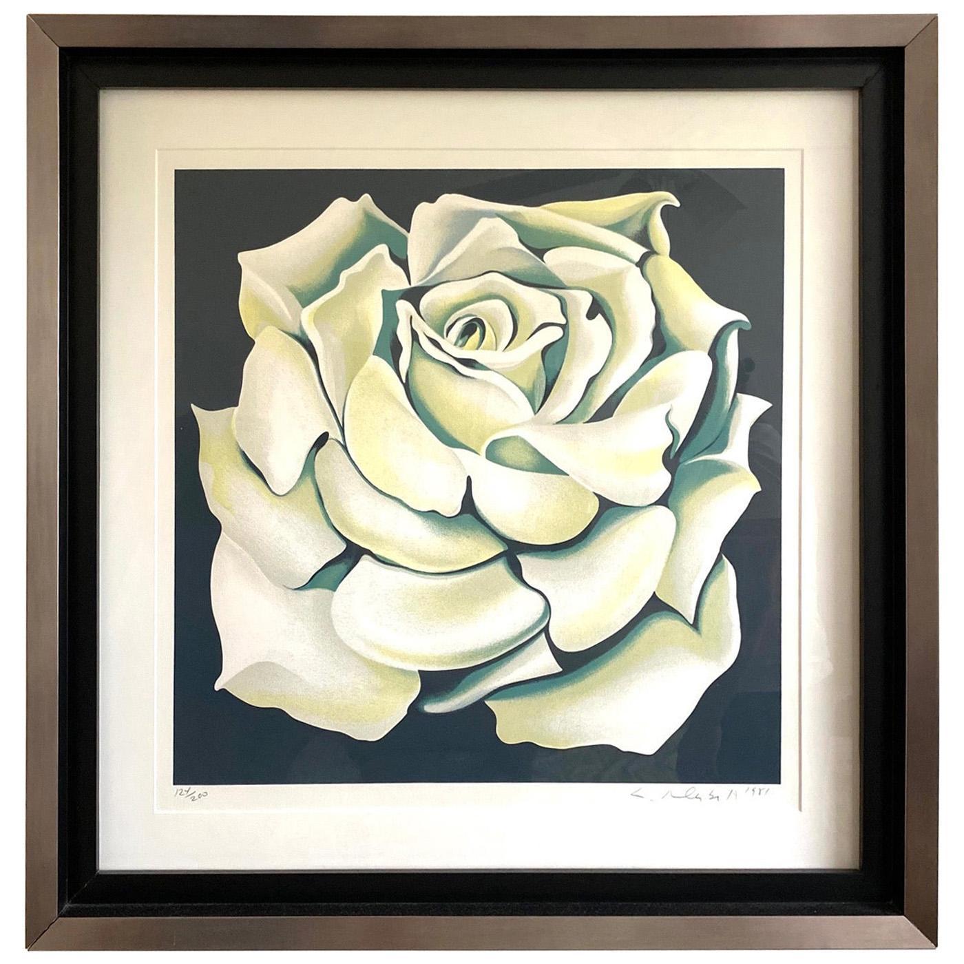 Lowell Nesbitt White Rose Limited Edition Lithograph in Custom Frame, circa 1981