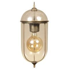 Lozenge Shape Glass Pendant Lamp with Brass Flame
