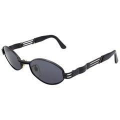 Lozza black hexagonal sunglasses, made in Italy in the 80s