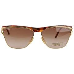 Lozza VIntage Unisex Brown and Gold Sunglasses Mod. Letizia 135mm Wide