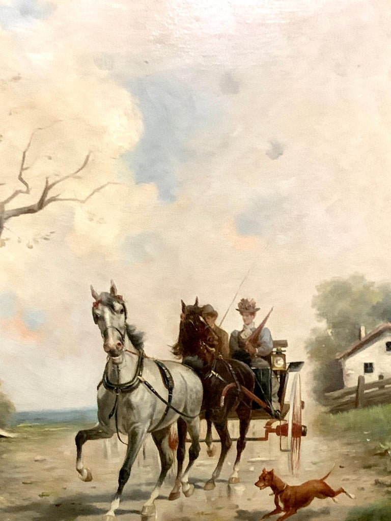 19th century oil painting of a horse and buggy with a two figures, in landscape - Painting by L.Riekers