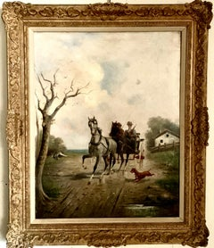 19th century oil painting of a horse and buggy with a two figures, in landscape
