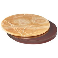 LS 650 Lazy Susan Serving Dish, Bordeaux Resin, Honey Onyx