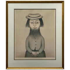 """LS Lowry """"Woman with Beard"""" Signed & Stamped Limited Edition Print"""