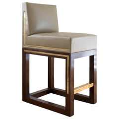 LT Counter Stool Chair Brass Inlay Walnut Leatherette Faux Leather Metal