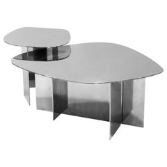 LT02 Coffee Table in Polished Steel by Sabourin Costes, France, 2020