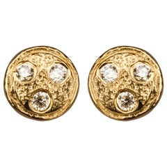 Diamond Ear Studs ' Diamonds on Planet ' Gold Plated