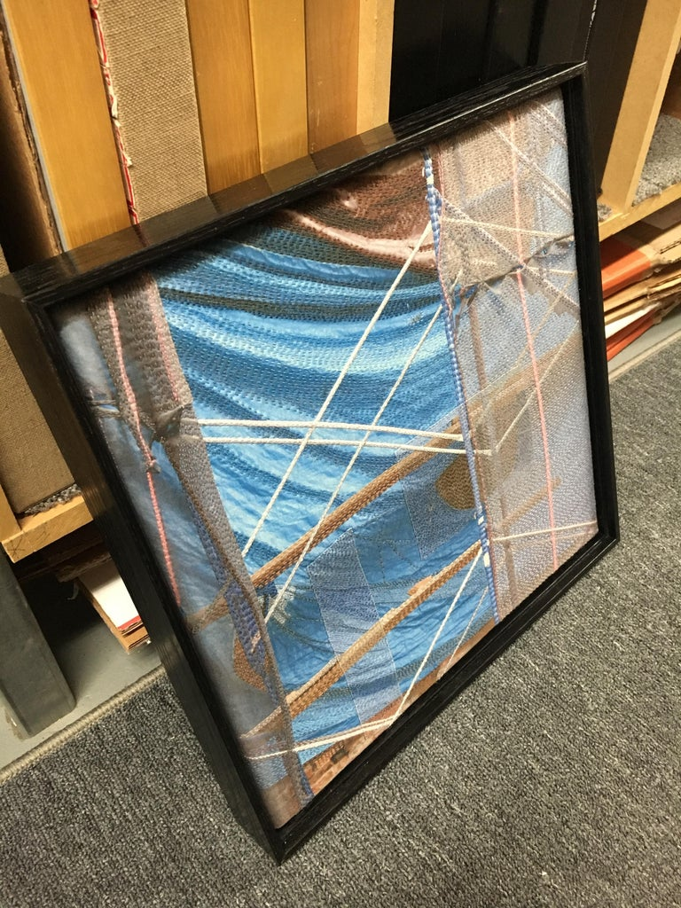 Blue Tarp / Manhattan, Digital Print Photography on Silk with Hand Stitching - Brown Abstract Photograph by Luanne Rimel