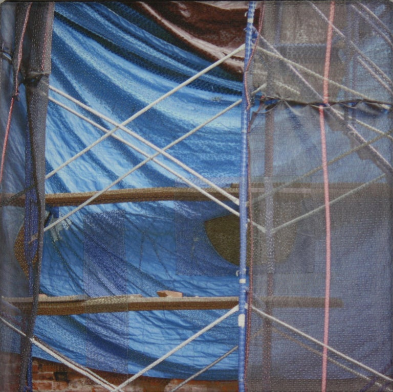 Luanne Rimel Abstract Photograph - Blue Tarp / Manhattan, Digital Print Photography on Silk with Hand Stitching