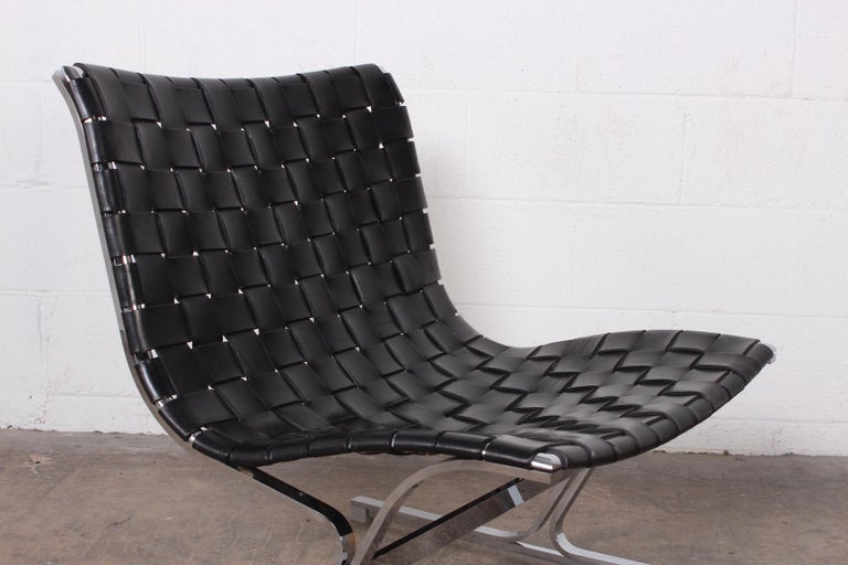 'Luar' Leather Lounge Chair by Ross Littell In Good Condition For Sale In Dallas, TX
