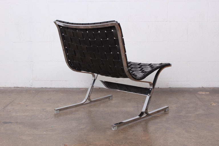 'Luar' Leather Lounge Chair by Ross Littell For Sale 1