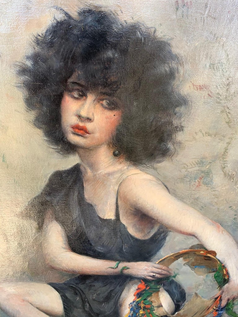 Luc Albert Moreau (French, 1882 - 1948) Gitan, 1920 Oil on canvas 39 1/2 x 27 3/4 inches Signed and dated lower left Housed in an original 1920s frame  Provenance: Acquired by the below in Belgium, May 2010 Collection of Dr. and Mrs. John P.