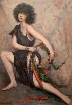 """Gitan (Gypsy),"" Luc Albert Moreau,Figurative French Portrait Dancer Musician"
