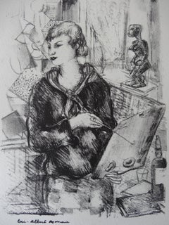 Painter with African Sculpture - Stone lithograph, 1930