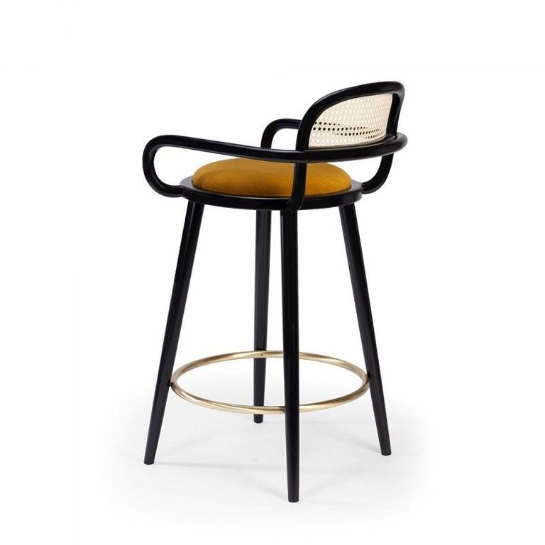 When it comes to Luc bar stool, the playing field is the cross-section where functional design and craftsmanship of the highest quality meet art. This chair is made of solid oakwood structure, natural rattan back and soft comfortable velvet