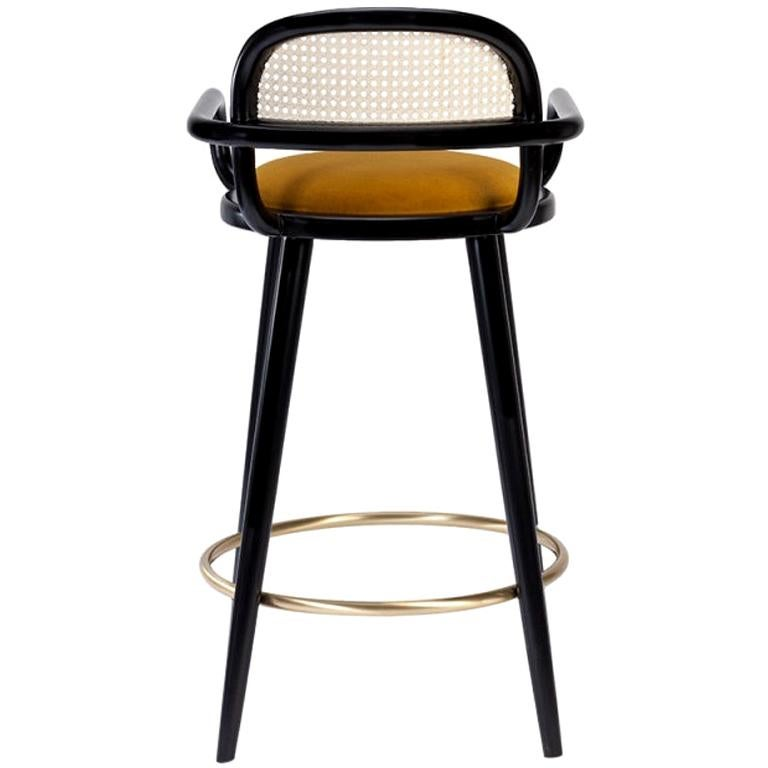 Mid-Century Modern Luc Bar Chair in Solid Wood, Brass and Upholstered Seat For Sale