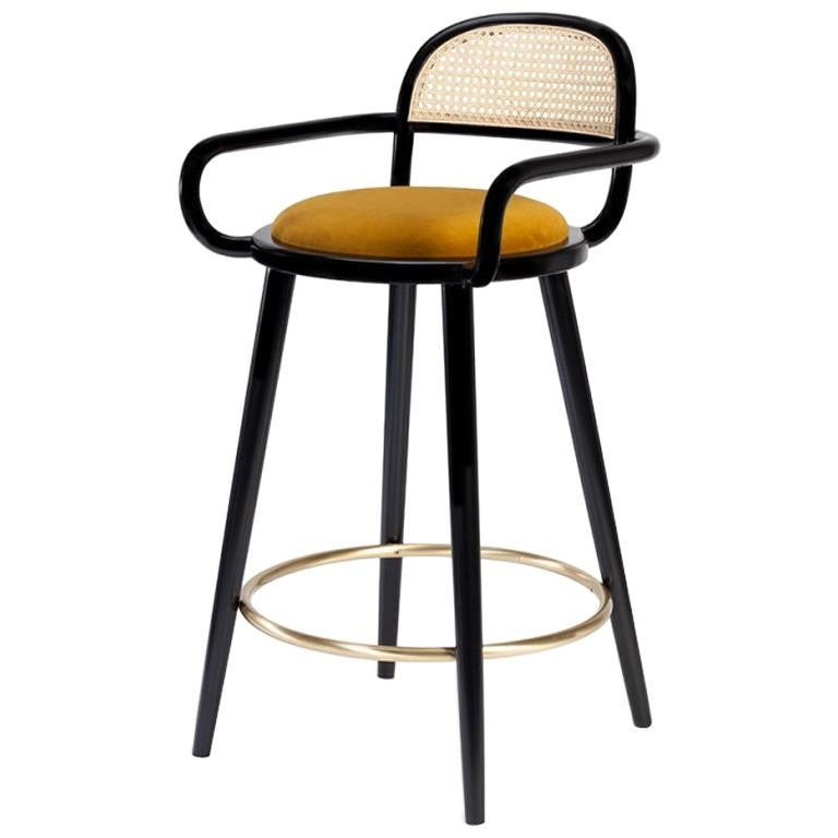 Luc Bar Chair in Solid Wood, Brass and Upholstered Seat