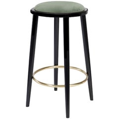 Luc Counter Stool in Solid Wood, Brass and Upholstered Seat