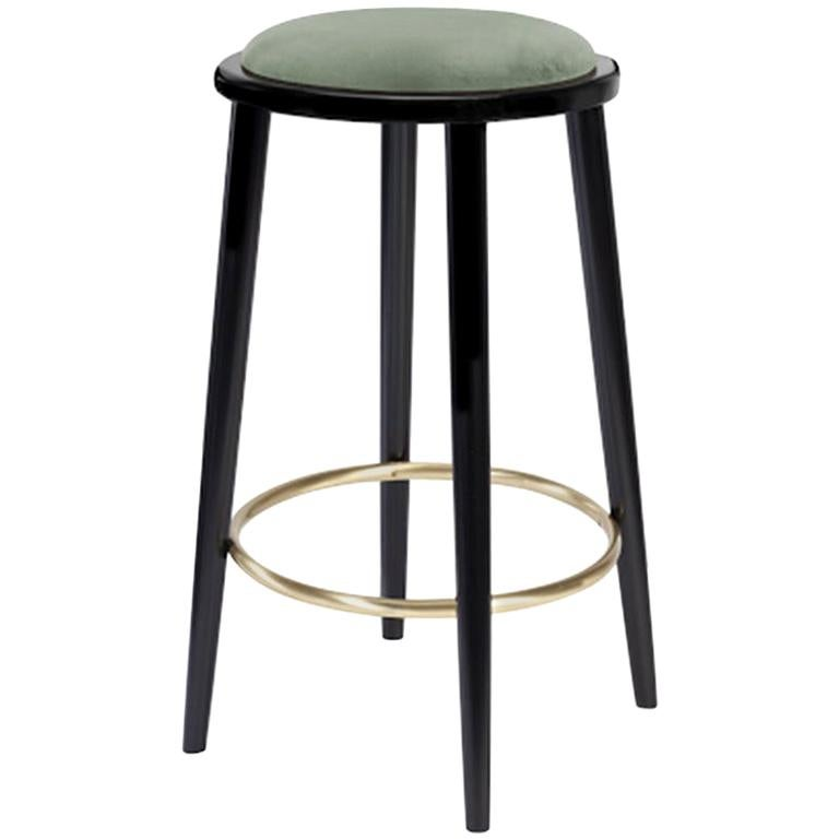 Luc Counter Stool in Solid Wood, Brass and Upholstered Seat For Sale