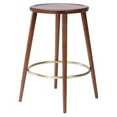 Luc Counter Stool in Solid Wood, Brass and Wood Seat