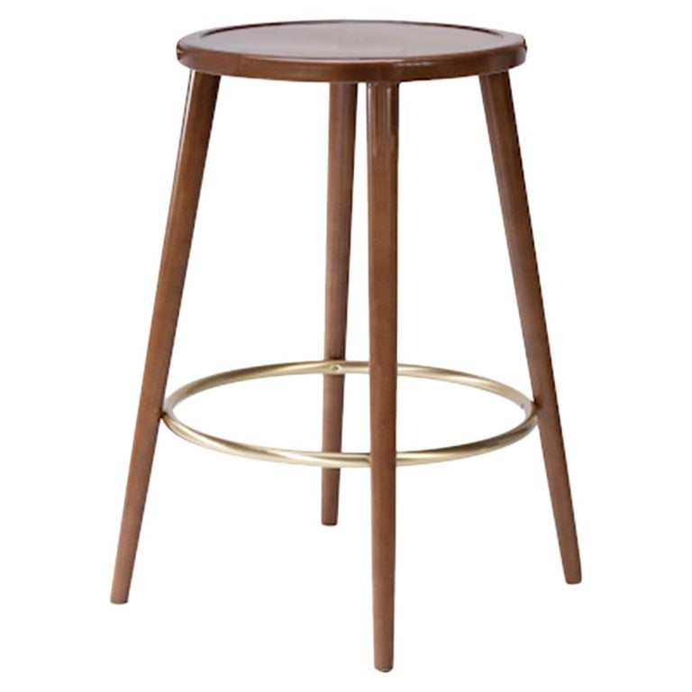 Luc Counter Stool in Solid Wood, Brass and Wood Seat For Sale