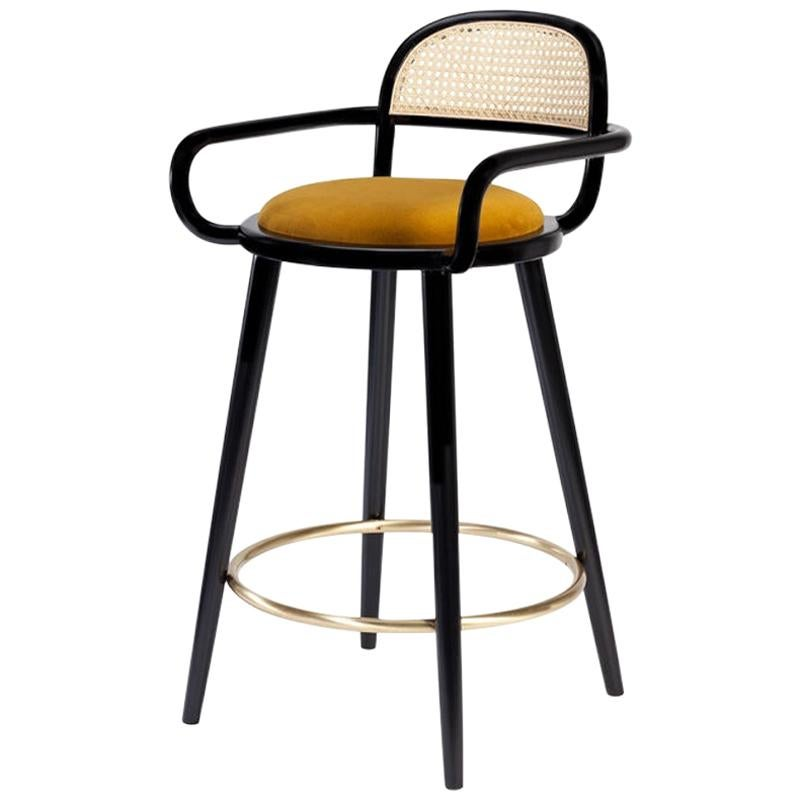 Luc Counter Chair in Solid Wood, Brass and Upholstered Seat
