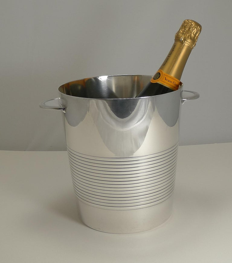 Luc Lanel for Christofle, Champagne Bucket or Wine Cooler, Vulcan, circa 1940 For Sale 3