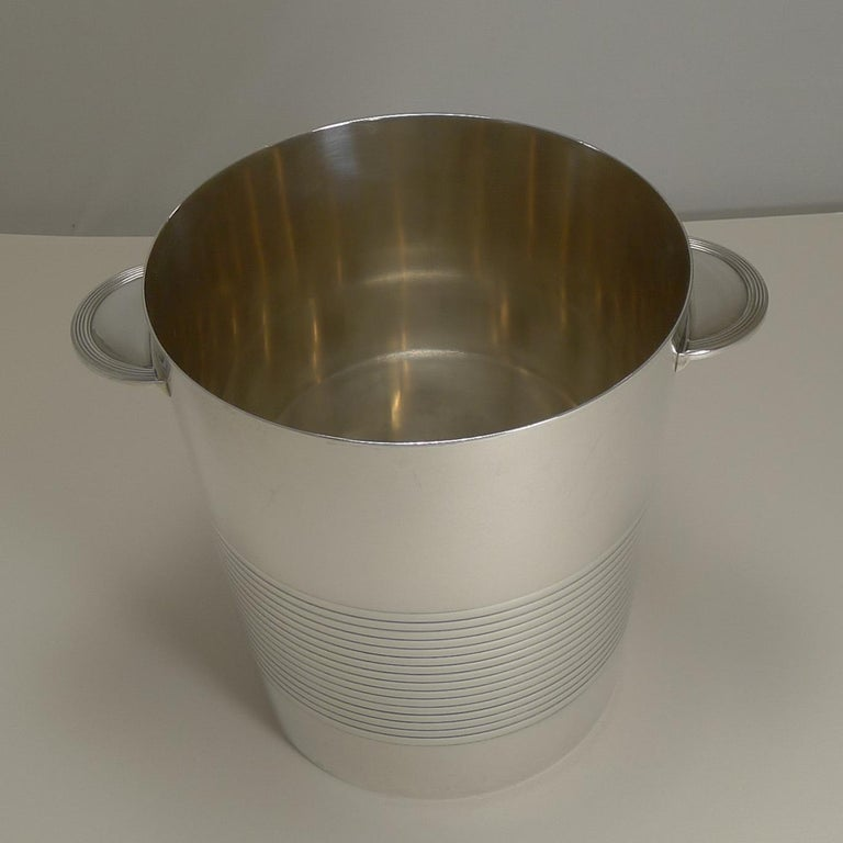 A handsome and highly sought-after Champagne bucket designed by Luc Lanel for Chrsitofle, Paris.