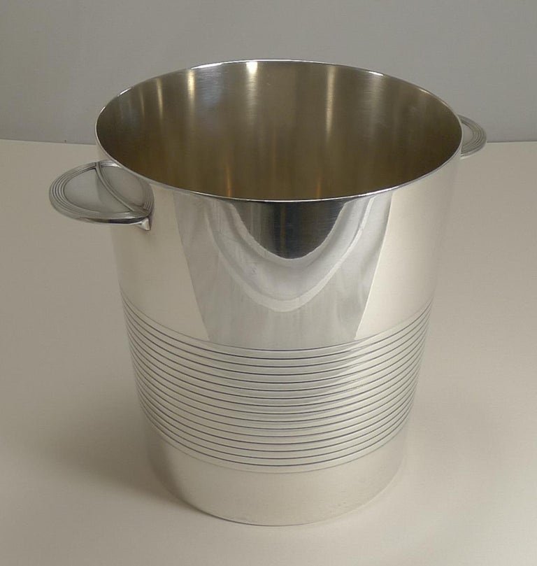 French Luc Lanel for Christofle, Champagne Bucket or Wine Cooler, Vulcan, circa 1940 For Sale