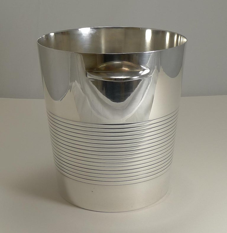 Mid-20th Century Luc Lanel for Christofle, Champagne Bucket or Wine Cooler, Vulcan, circa 1940 For Sale