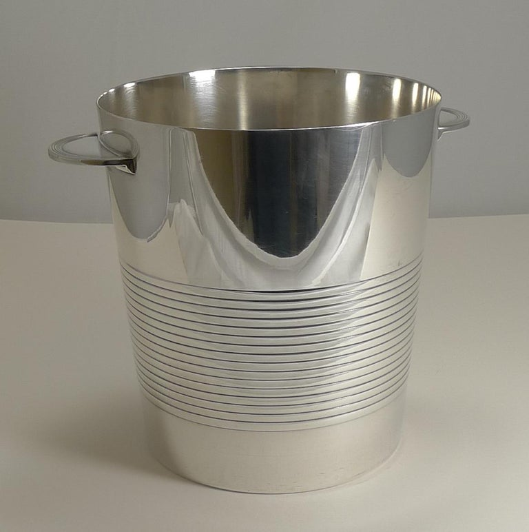 Silver Plate Luc Lanel for Christofle, Champagne Bucket or Wine Cooler, Vulcan, circa 1940 For Sale
