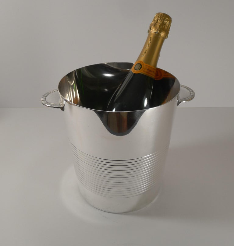 Luc Lanel for Christofle, Champagne Bucket / Wine Cooler, Vulcan c.1940 For Sale 3